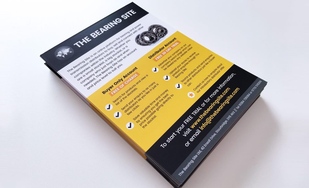 bearing site a5 flyers design