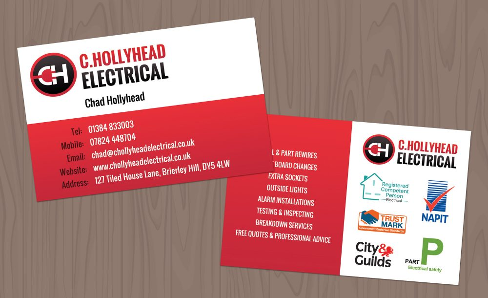 Electrician printed business cards Brierley Hill
