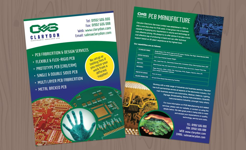Clarydon A4 leaflet design and print