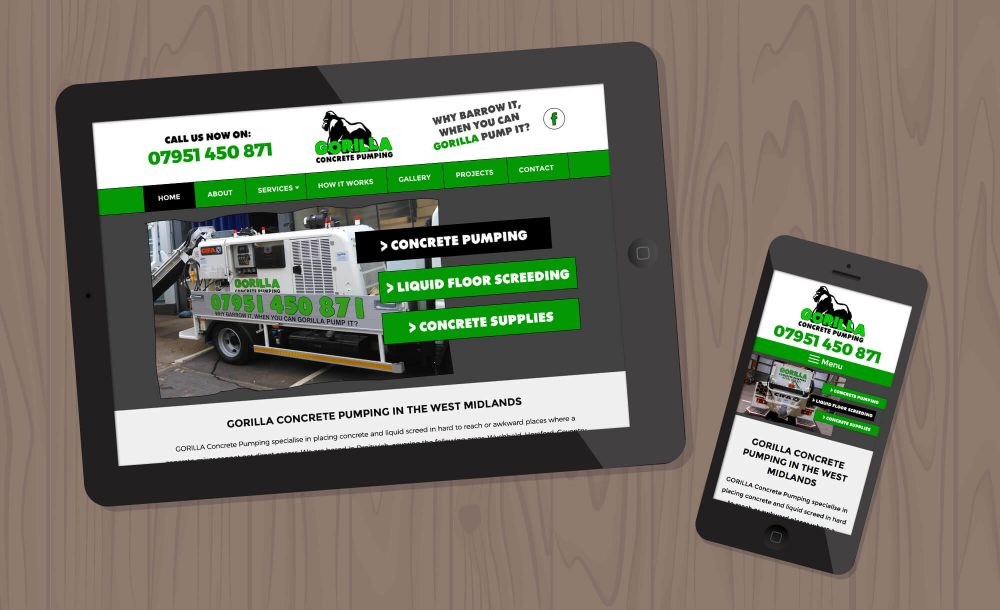 Gorilla Concrete Pumping website