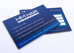 HM Hair Wollaston business cards