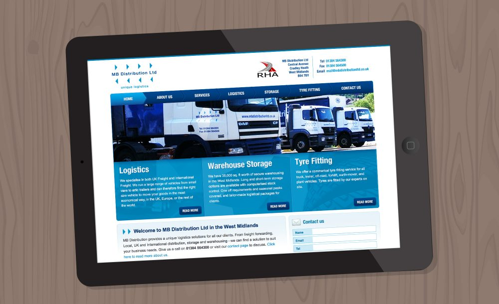 MB Distribution website redesign Cradley