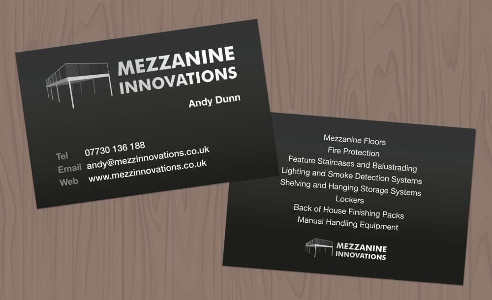 Mezzanine innovations business cards design getsited mezzanine innovations business card design reheart Choice Image