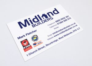 Midland Builders Business Cards Stourbridge