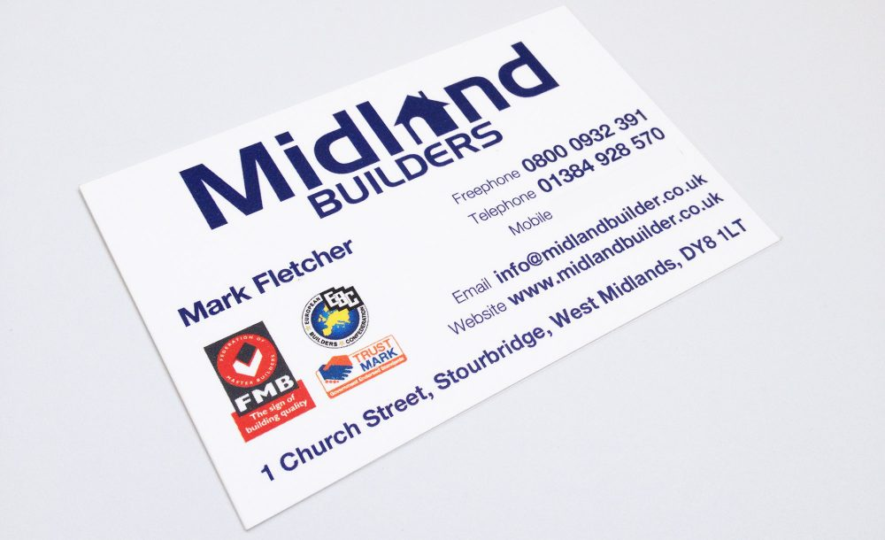 Midland Builders Business Cards Stourbridge | GetSited