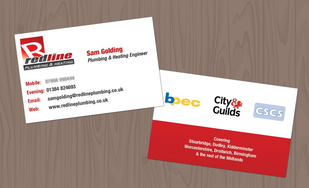Plumber business cards Stourbridge