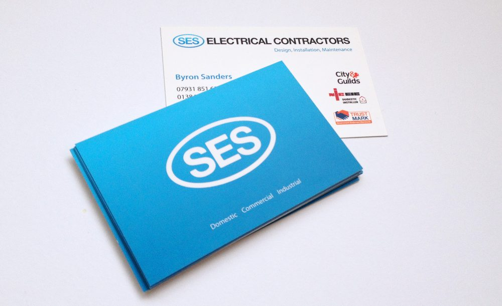 SES electrician business cards Stourbridge